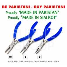 """3 Pcs Set - Round Nose + Flat Nose + Chain Snipe Nose Jaws Pliers 5"""" 130mm..."""