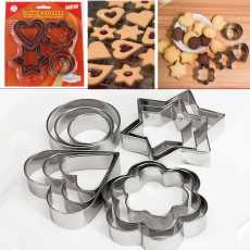 ROHA 12 Pcs Metal Stainless Steel Cookie Pastry Fruit Cutters, Molds- Heart...