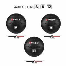 SWAY WALL BALL 12KG, SLAM BALL BLUE BLACK, WALL BALL, MEDICINE BALLS, CORE...