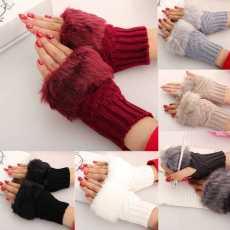 Half Finger Warm Soft Plush Short Fingerless wool winter Fluffy Gloves Women...