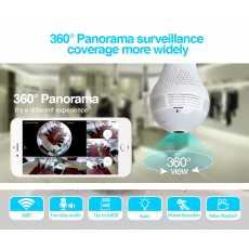 Spy Bulb Camera HD 360° Panoramic Wifi 1080P IP Camera Light Bulb Home...