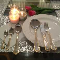 Food grade Stainless Steel Cutlery Set GOLD LINNING 34 pcs ,6 Serving Mirror...