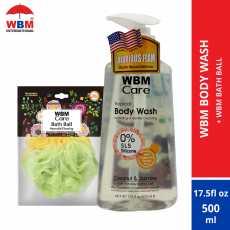 WBM Body Wash Coconut and Jasmine 500 ml with WBM Bath Ball (Loofah)