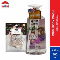 WBM Body Wash with Lavender and Almond- 500 ml + WBM Bath Balls(loofah) Pack...