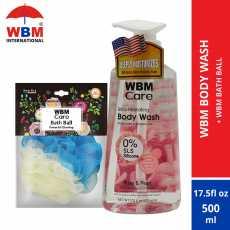 WBM Body Wash Rose and Pearl (500 ml) with WBM Bath Ball (Loofah)