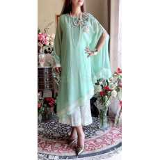 PURE CHIFFON CAPE WITH UNDERSHIRT EMBROIDERED and EMBELLISHED