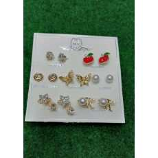 Earrings set of 14 pairs for girls fashion ear rings tops studs