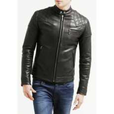 Men's Black Leather Jacket Biker Racer Slim-Fit Short Soft Lambskin Motorcycle
