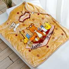 Baby blanket Double layer Brown cartoon Kitty Bear and Giraffe printed baby...