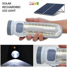 LED Solar Rechargeable Flashlights-Torch Light Long Range- Grey Color