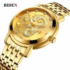 Mughaliya Biden 0106 Luxury Quartz Watch Men Golden Dragon Carved Dial...