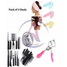 Pack of 3 Women Professional Eyelash Curlers + 3 Facial Band + 10 piece...