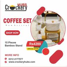 Ceramic Coffee Set With Bamboo Stand