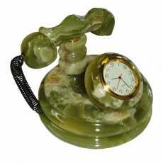 "Telephone Shape Hand Made Onyx Natural Stone Decoration Piece Clock 4"" & 6"" (..."