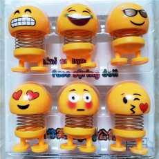 Pack of 6 - Emoji Mini Shaking Head Car Ornament Dolls - Funny Smile Face...