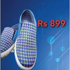Dark blue dotted sports shoes