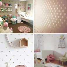 Baby Girl Room Decorative Stickers Gold Heart Wall Sticker For Kids Room Wall...