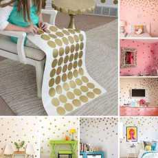 SOLEDI Gold Polka Dots Wall Sticker Children Decal Art Home Decor Living Room...