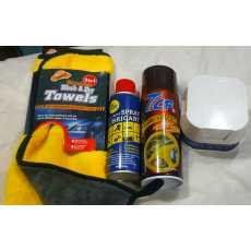 7CF dashboard spray+ Polish+ WD-40 & Microfiber cloth ( Pack of 4 )