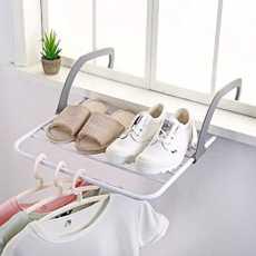 1pcs Foldable Clothes Plastic Drying Rack Window Outside Balcony Portable...