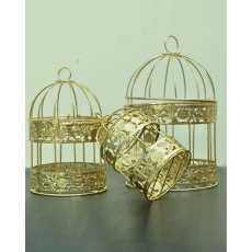 Pack of 03 -Golden color birdcages hanging birdcages decoration