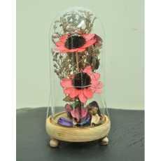 Transparent Glass Shape Flower Decoration piece