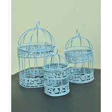 Pack of 03 -Blue color birdcages hanging birdcages decoration