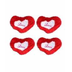 Pack of 4 - Silk Heart Shape Cushions - Red