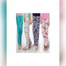 Pack of 4 - Multicolor Cotton Jersey Printed Trousers For Women