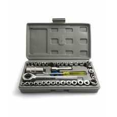 Combination Socket Wrench Kit - 40 Pcs - Silver