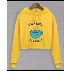 Fleece stuff YELLOW COFFEE PRINTED CROPPED HOODIE FOR womens