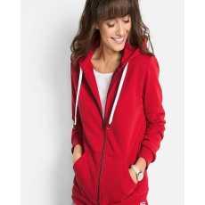 Fleece stuff Red Ladies Zipper Hoodie