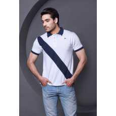 White with black Strip Polo Shirt