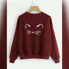 Fleece stuff maroon meow sweatshirt for women