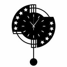 18 inches Stylish pendulum clock-3D wooden star clock-new clock design for...