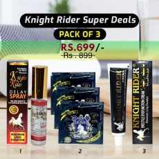 SUPER KNIGHT RIDER COMBO DEAL PACK OF 3 ( CREAM, SPRAY & CONDOM )