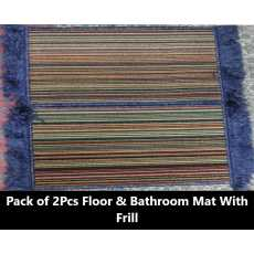 """Floor & Bathroom Mats With Frill - 15"""" X 23"""" - Multi Color Pack Of 2 Pcs –..."""