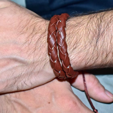 Double Layered Artificial Leather Wrist Band For Men - Brown