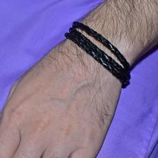 Fashion Faux Artificial Leather Rope Bracelet For Men - Black