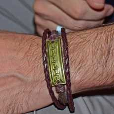 Feather Double Layer Bracelet For Men - Brown