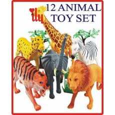 12 RUBBER ANIMAL TOYS JUNGLE SET FOR KIDS