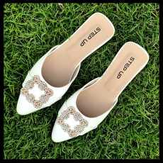 Women's Shoes - Flat Fancy Mule Pumps - Step Up