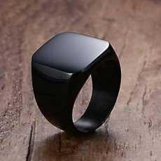 Black Shinny Titanium Punk Ring Unisex Trend 2019