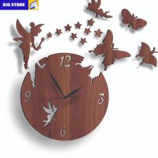 Wooden Girls Favorite Wall Clock, 3D Laser Cut Wall Clock, Fairy Home Decor...