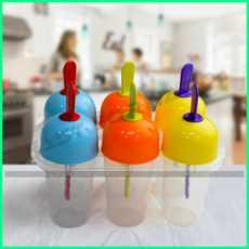 6 Reusable Ice Cream Maker Ice Lolly Molds Set Kulfi Maker Plastic
