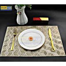 2Pcs / 4Pcs / 6 Pcs Gold Rectangle Vinyl Placemats Non Slip Dining Table...