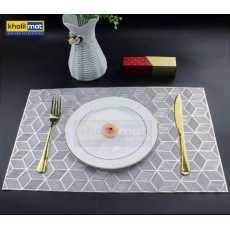 2Pcs / 4Pcs / 6 Pcs Silver Rectangle Vinyl Placemats Non Slip Dining Table...