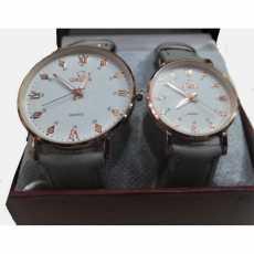 2pcs/Set of Couple Watch - Omega Leather Strap Quartz Watches With Stylish...