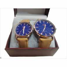 2pcs/Set of Couple Watch - Omega Leather Strap Quartz Watches With Blue Dial...