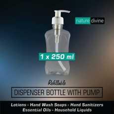 Transparent Refillable Empty Plastic Liquid Dispenser Bottle with Pump 250 ml